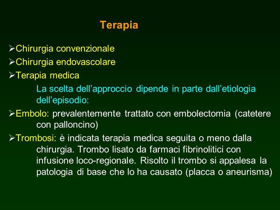 Terapia Chirurgia convenzionale Chirurgia endovascolare Terapia medica