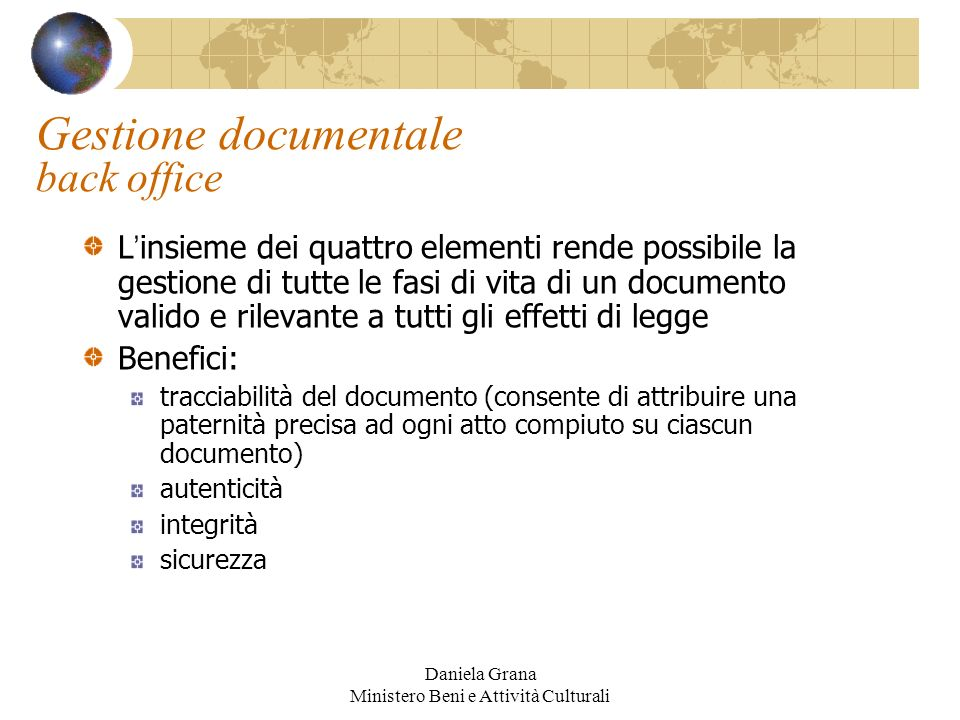 Gestione documentale back office