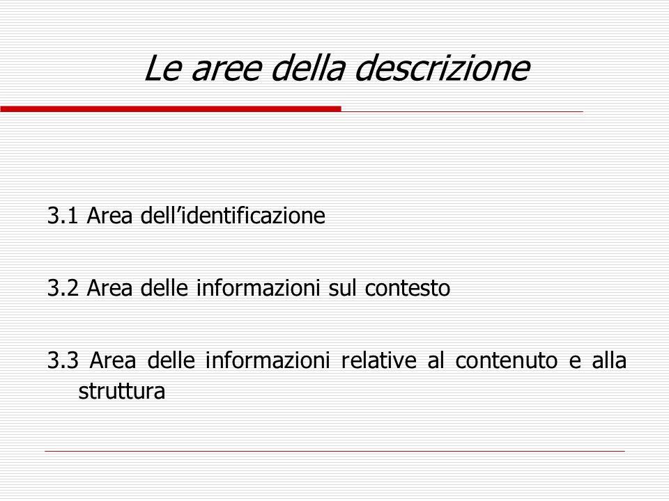 Le aree della descrizione