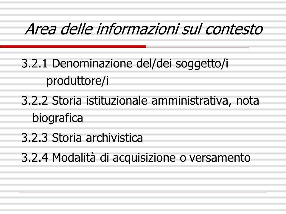 Area delle informazioni sul contesto