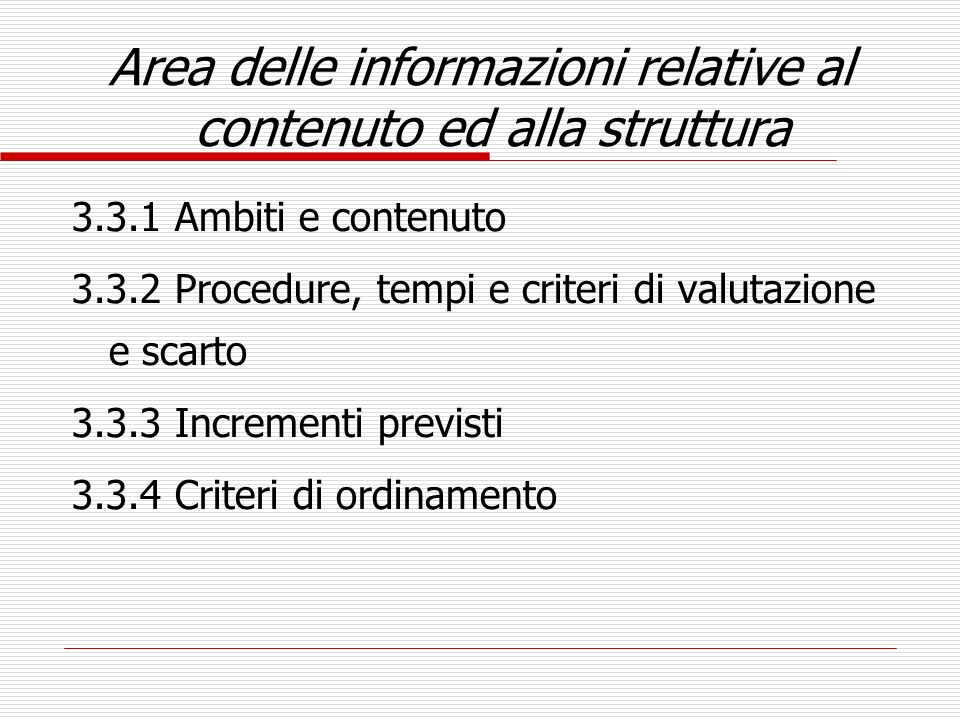 Area delle informazioni relative al contenuto ed alla struttura