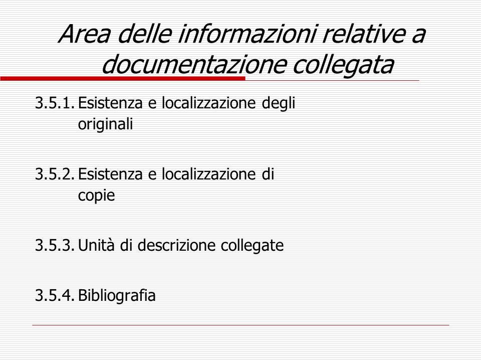 Area delle informazioni relative a documentazione collegata