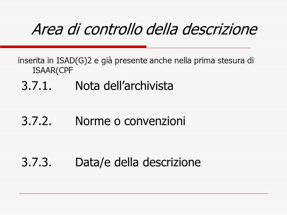 Area di controllo della descrizione