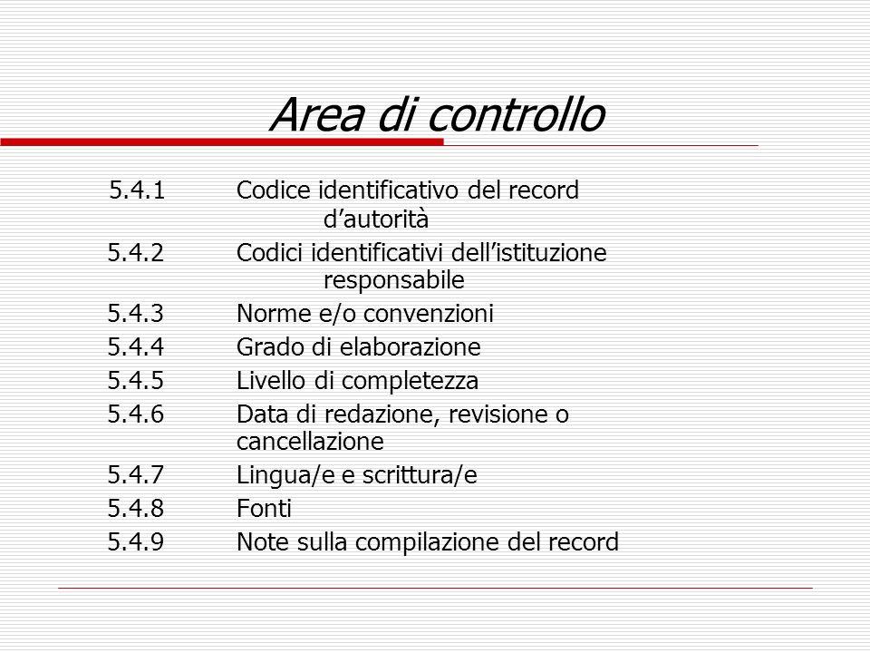 Area di controllo 5.4.1 Codice identificativo del record d'autorità