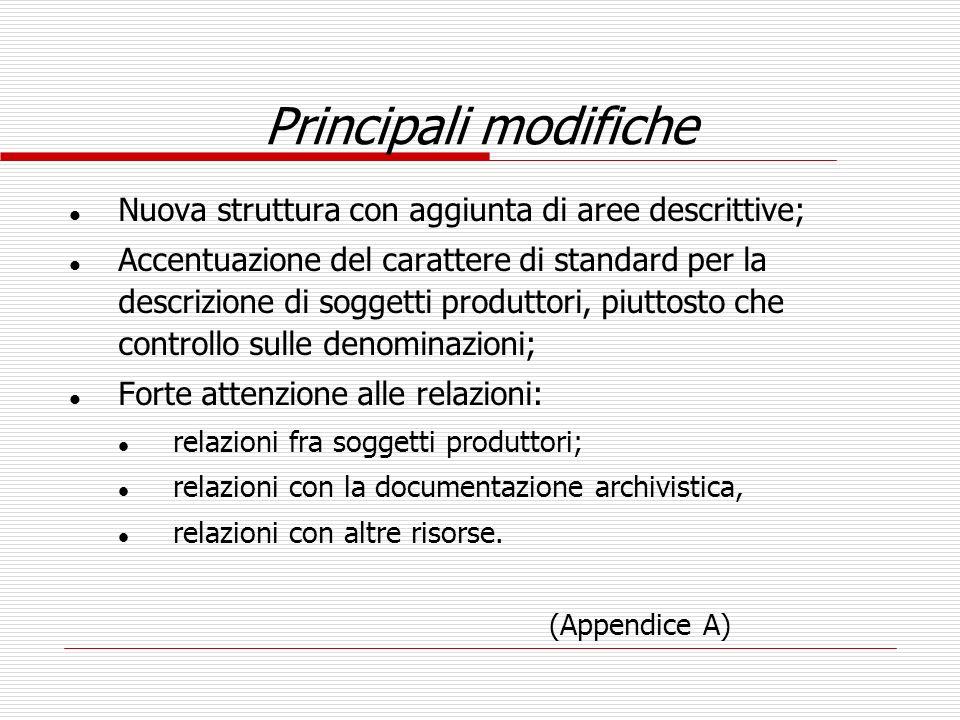 Principali modifiche Nuova struttura con aggiunta di aree descrittive;