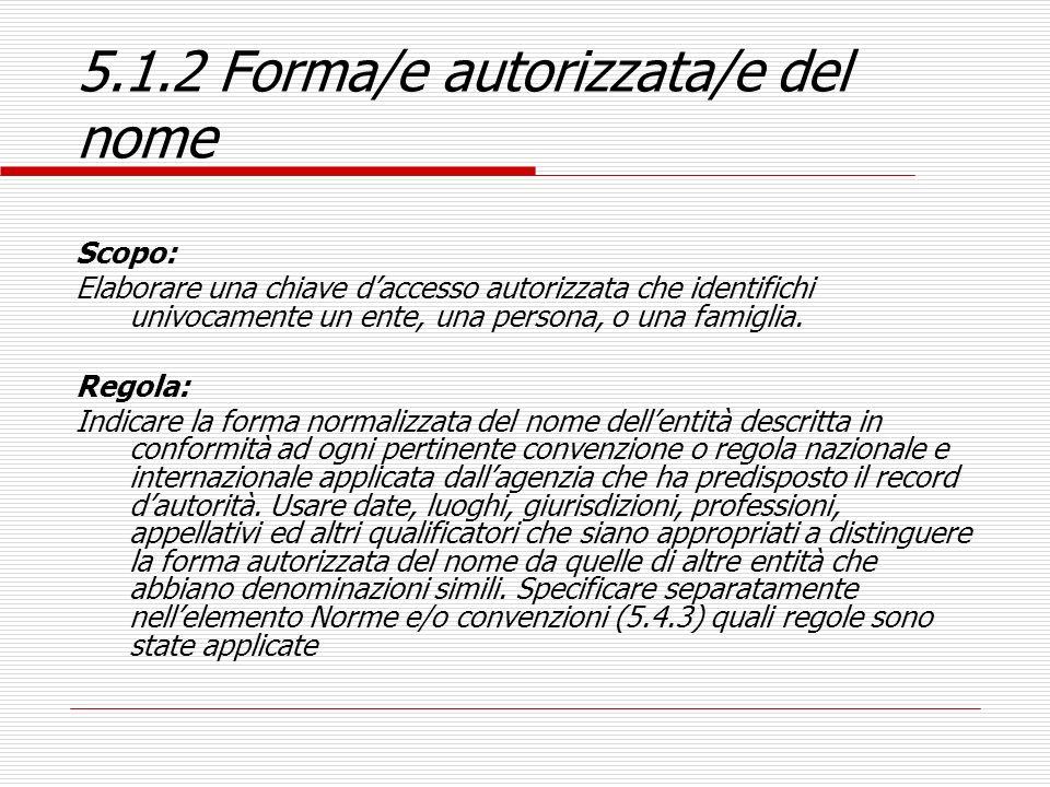 5.1.2 Forma/e autorizzata/e del nome