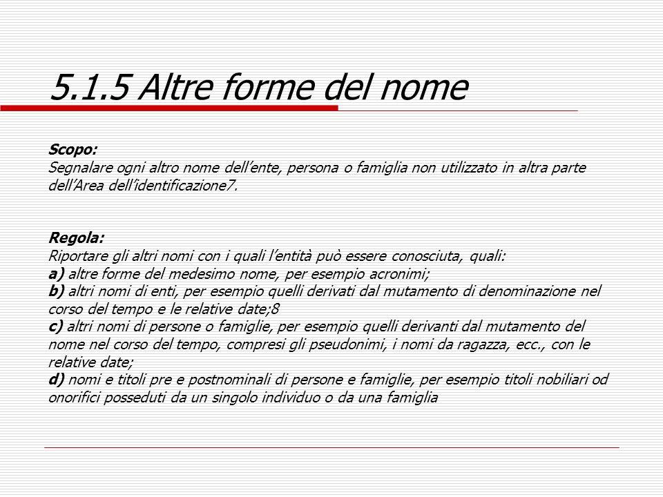 5.1.5 Altre forme del nome Scopo:
