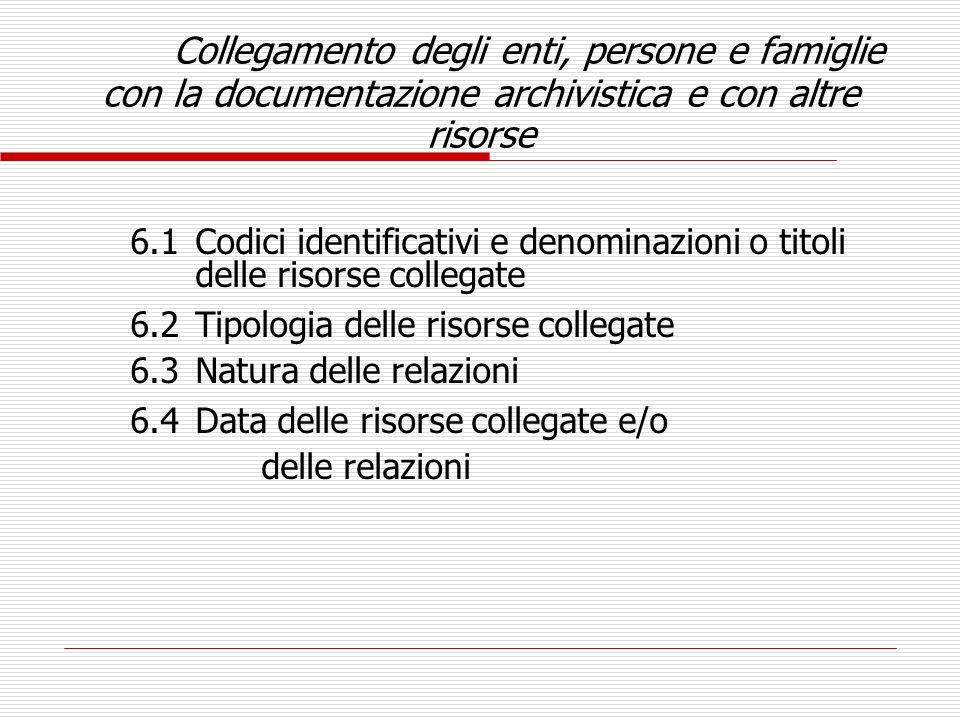 Collegamento degli enti, persone e famiglie con la documentazione archivistica e con altre risorse