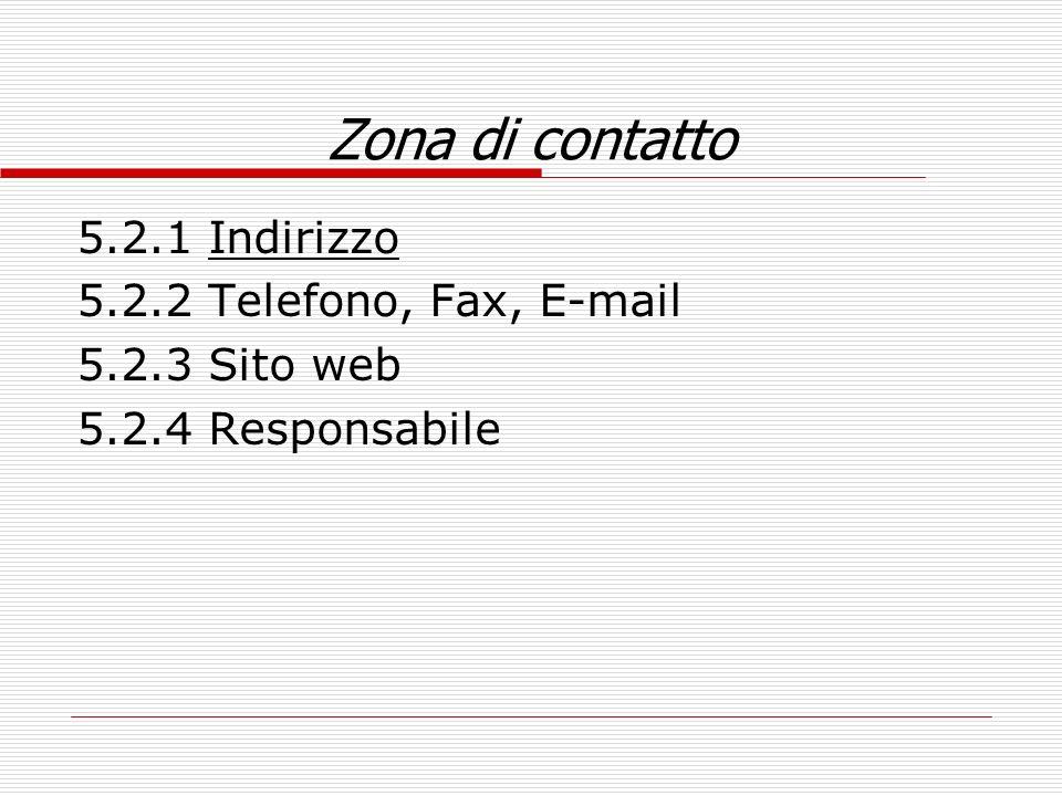 Zona di contatto 5.2.1 Indirizzo 5.2.2 Telefono, Fax, E-mail
