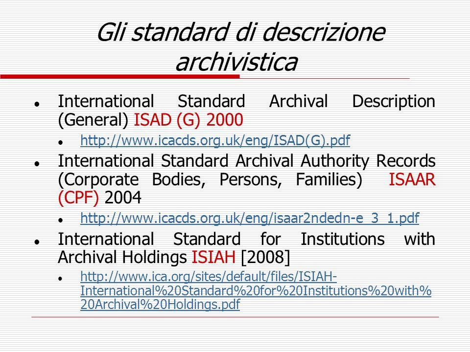 Gli standard di descrizione archivistica