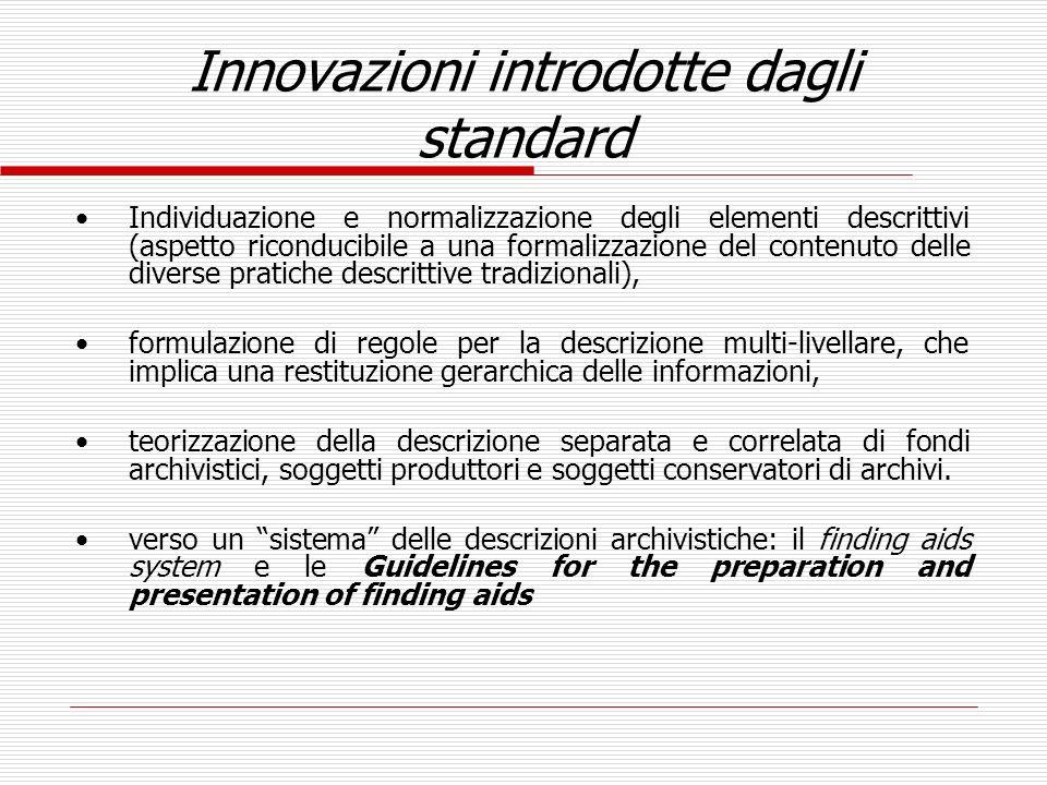 Innovazioni introdotte dagli standard