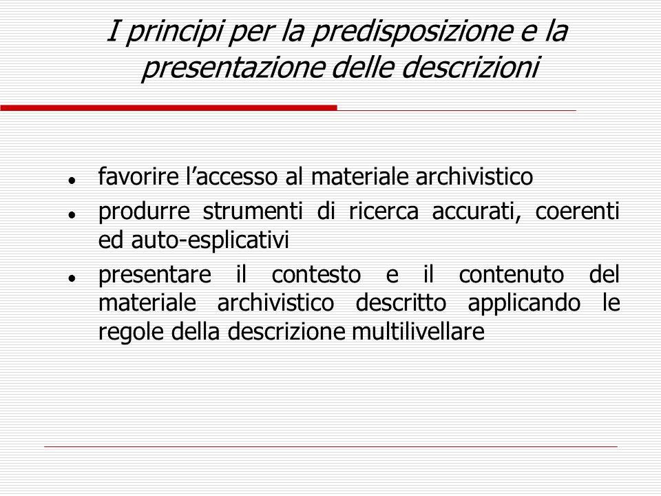I principi per la predisposizione e la presentazione delle descrizioni