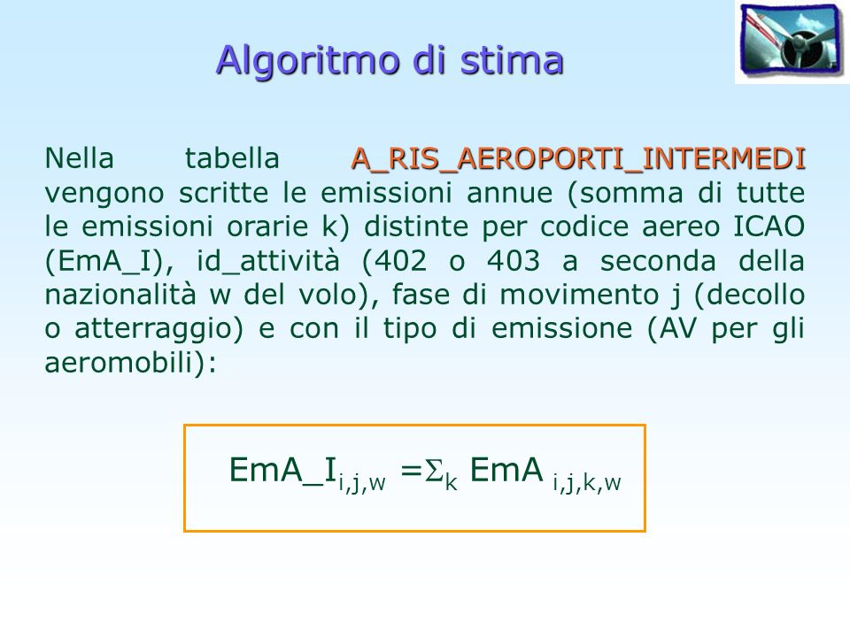 Algoritmo di stima EmA_Ii,j,w =k EmA i,j,k,w