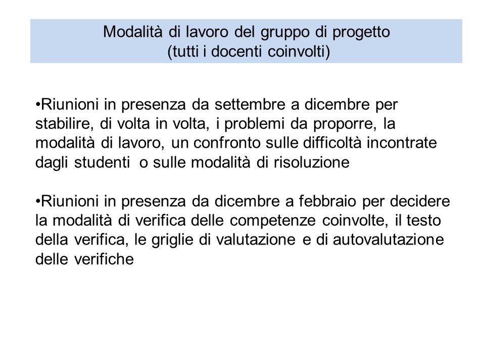 Modalità di lavoro del gruppo di progetto (tutti i docenti coinvolti)