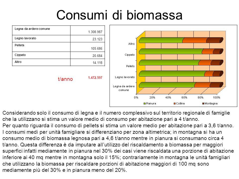 Consumi di biomassa t/anno