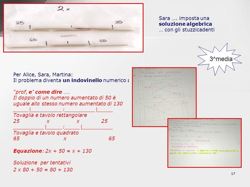 Sara …. imposta una soluzione algebrica … con gli stuzzicadenti