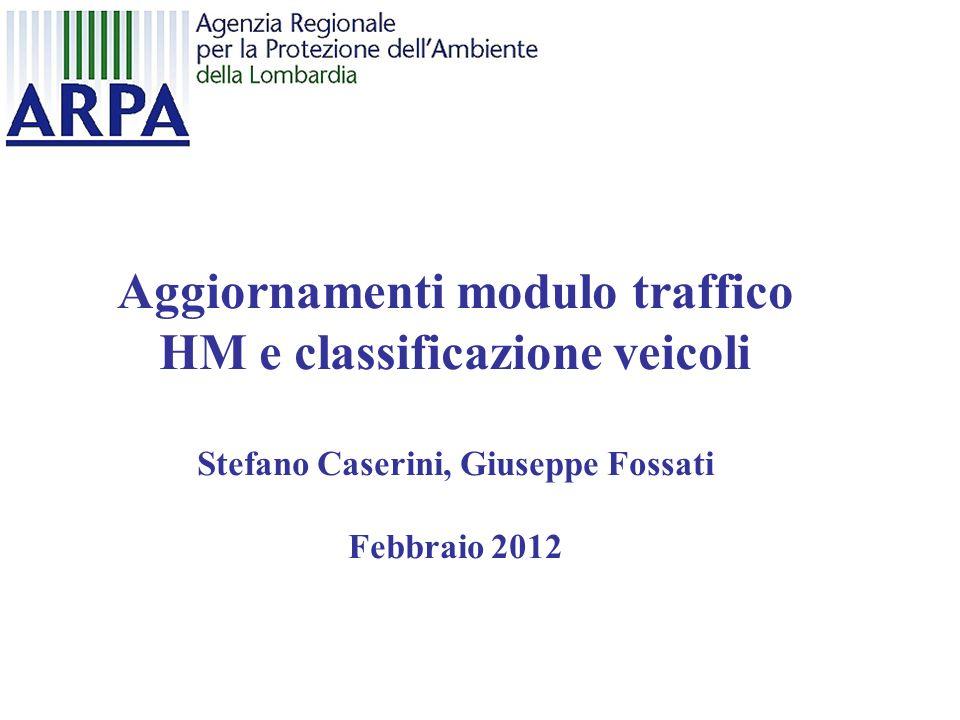 Aggiornamenti modulo traffico HM e classificazione veicoli
