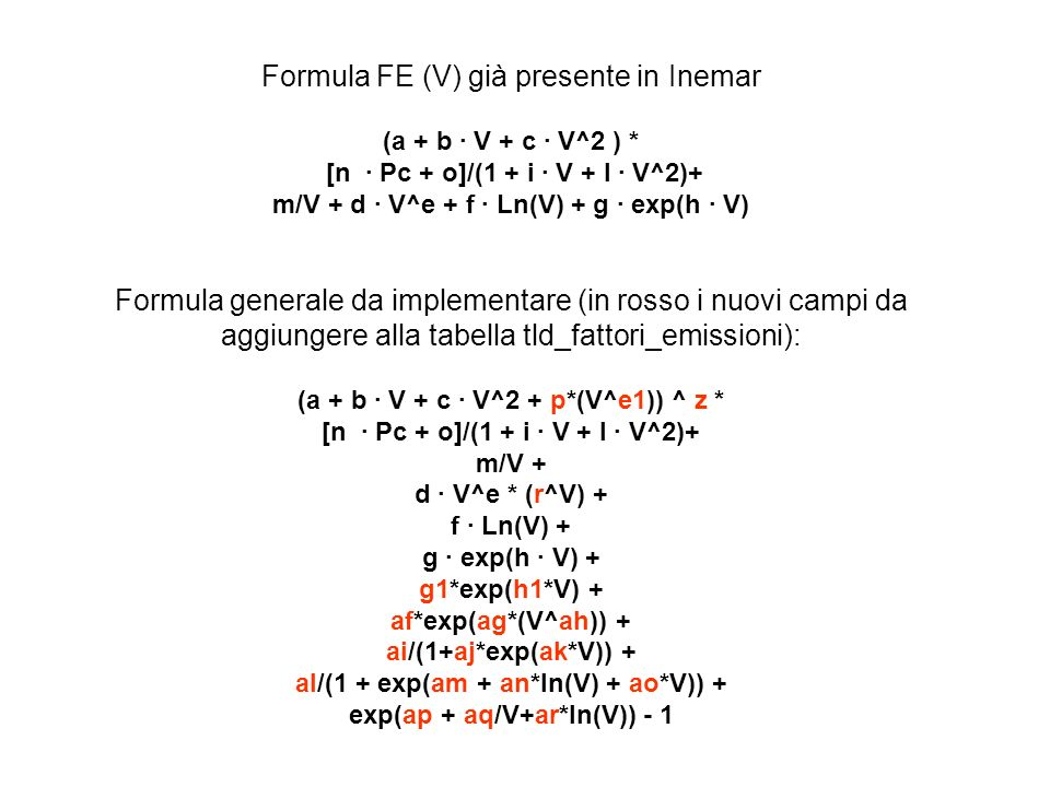 Formula FE (V) già presente in Inemar