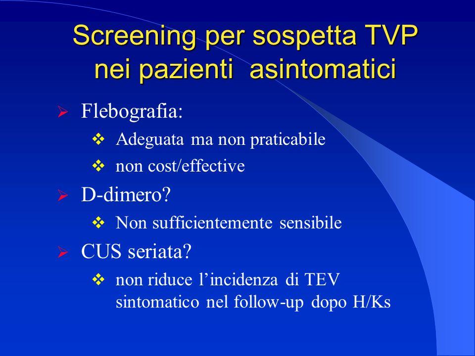 Screening per sospetta TVP nei pazienti asintomatici