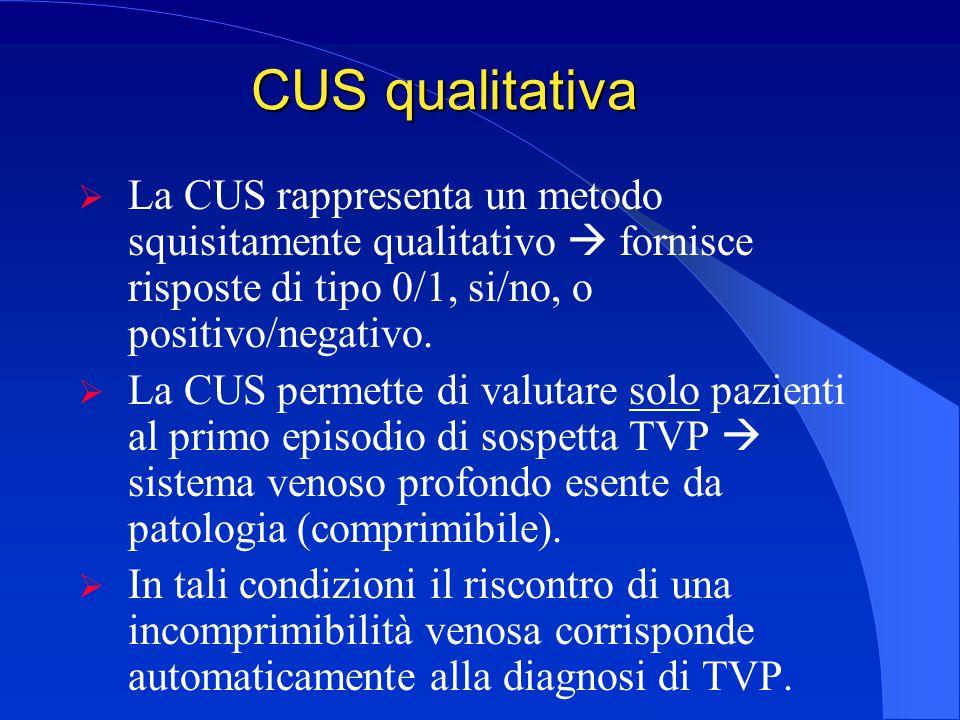 CUS qualitativa La CUS rappresenta un metodo squisitamente qualitativo  fornisce risposte di tipo 0/1, si/no, o positivo/negativo.