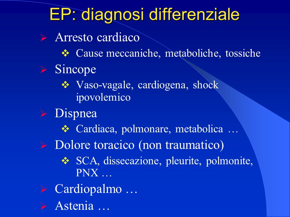 EP: diagnosi differenziale