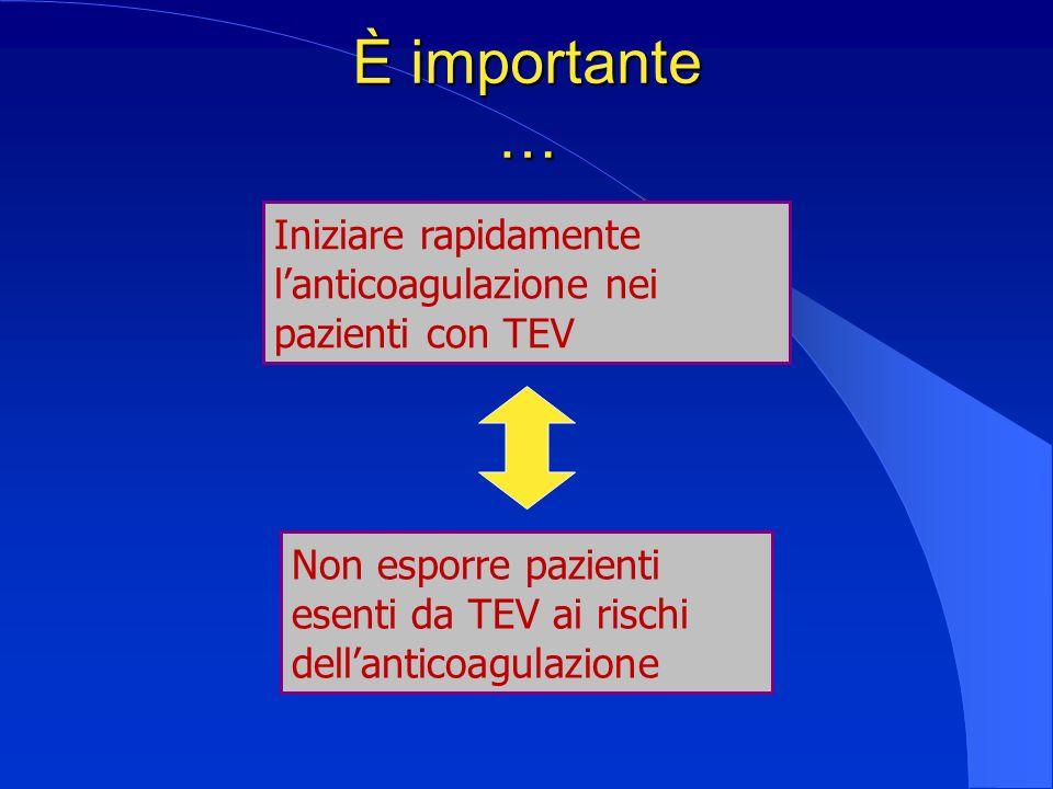 È importante … Iniziare rapidamente l'anticoagulazione nei pazienti con TEV.