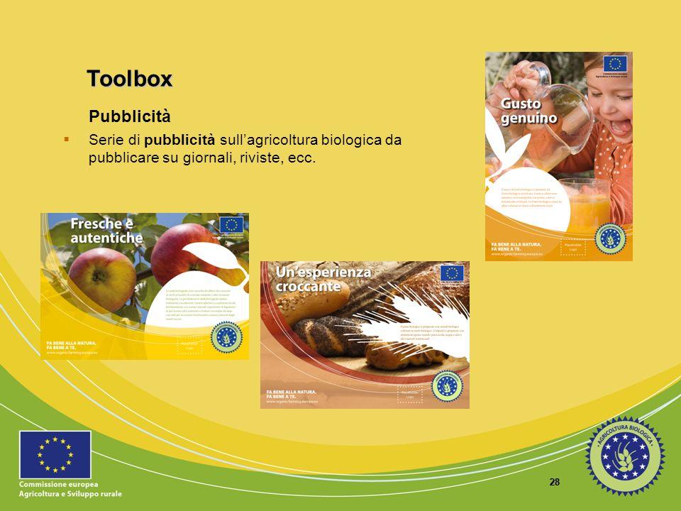 ToolboxPubblicità. Serie di pubblicità sull'agricoltura biologica da pubblicare su giornali, riviste, ecc.