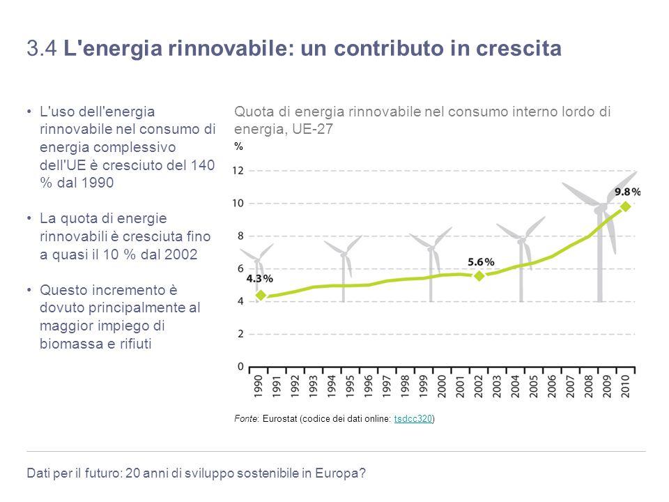 3.4 L energia rinnovabile: un contributo in crescita