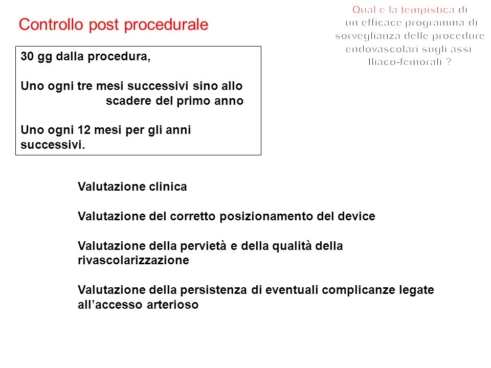 Controllo post procedurale