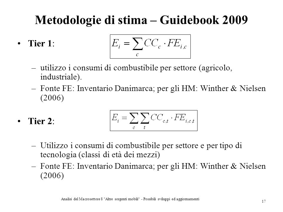 Metodologie di stima – Guidebook 2009