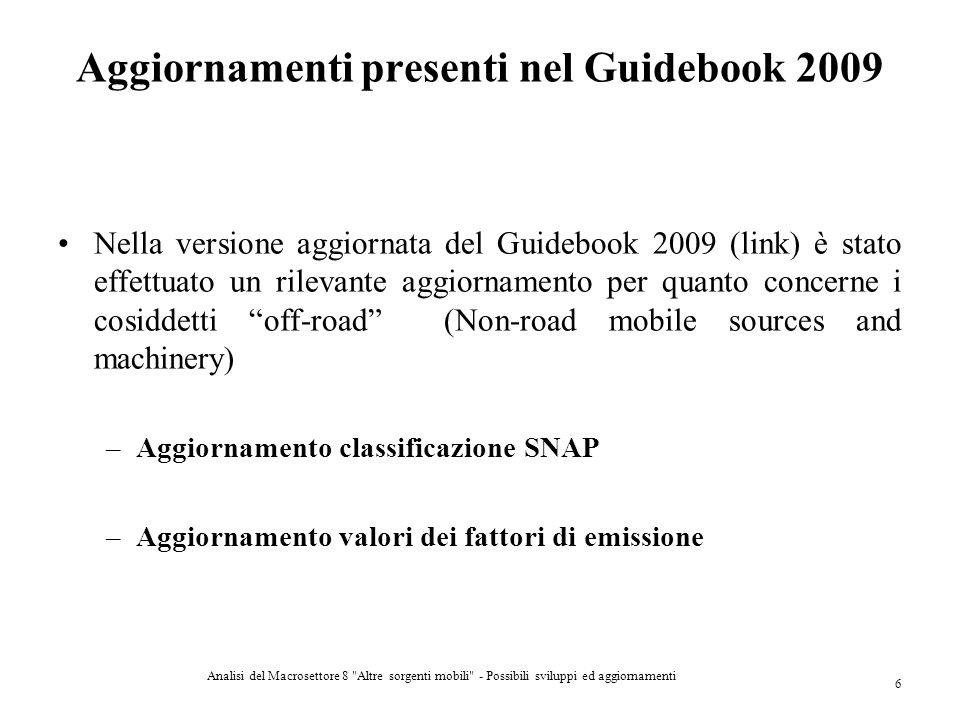 Aggiornamenti presenti nel Guidebook 2009