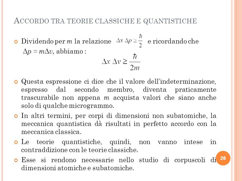 Accordo tra teorie classiche e quantistiche