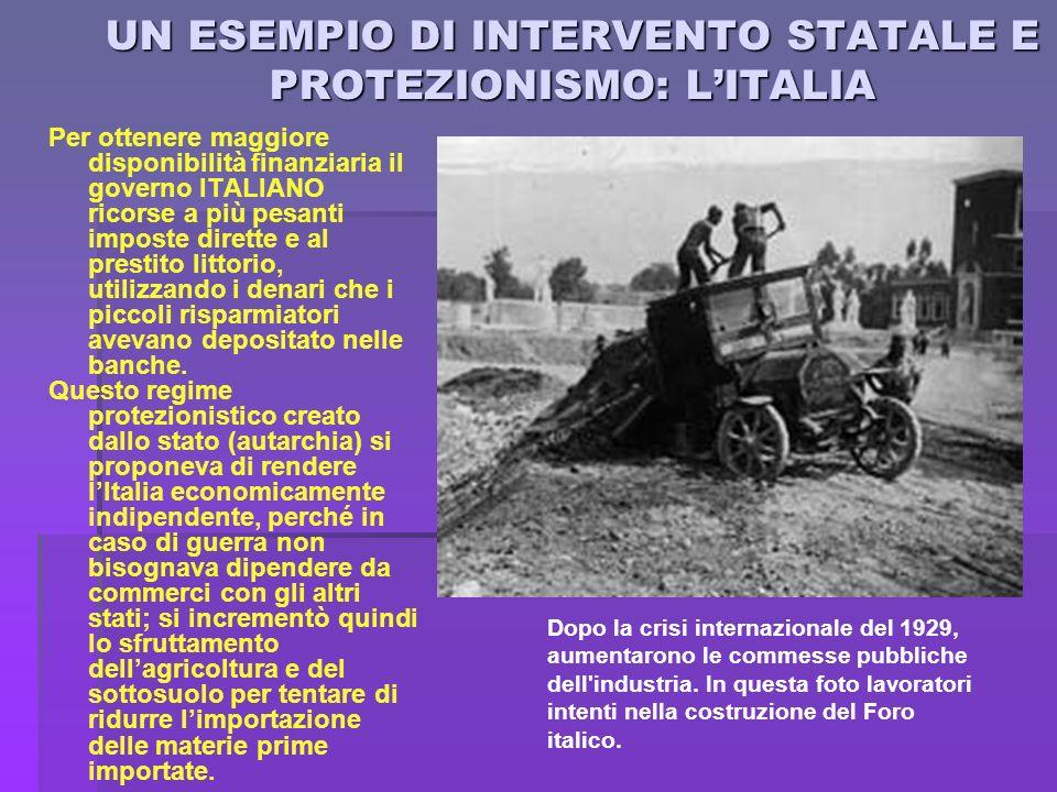UN ESEMPIO DI INTERVENTO STATALE E PROTEZIONISMO: L'ITALIA