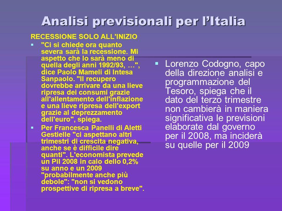 Analisi previsionali per l'Italia