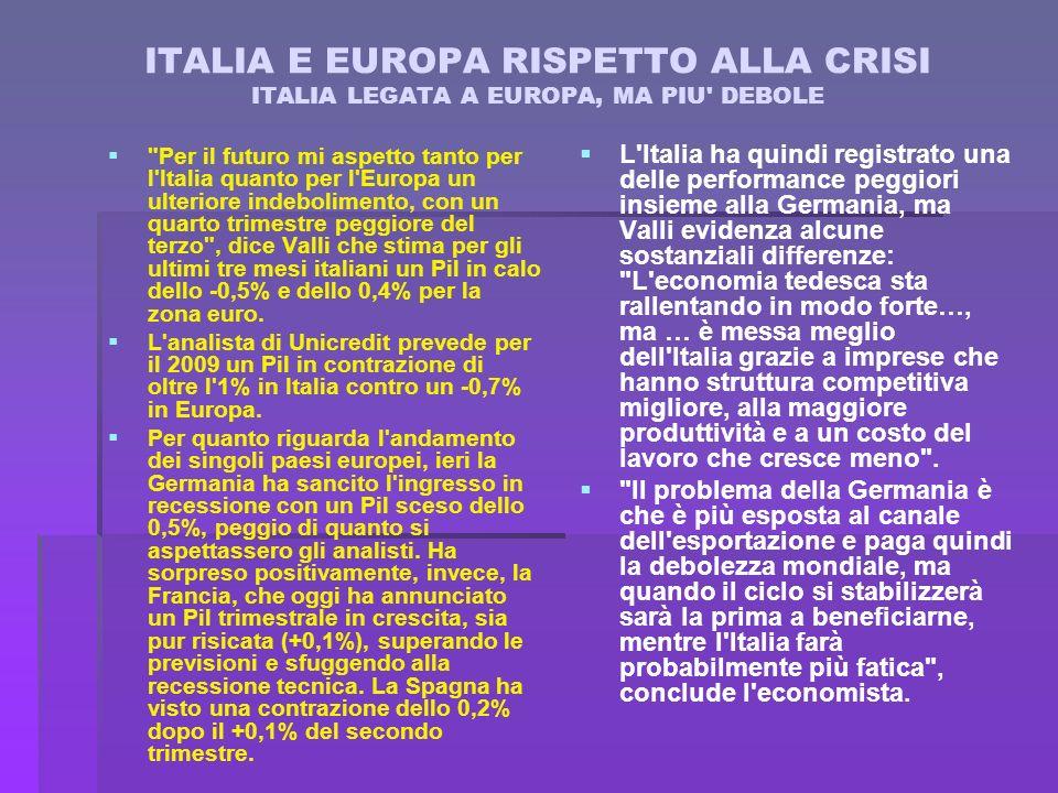 ITALIA E EUROPA RISPETTO ALLA CRISI ITALIA LEGATA A EUROPA, MA PIU DEBOLE