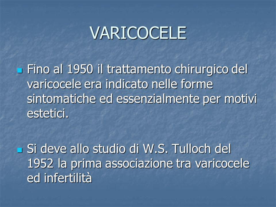 VARICOCELE Fino al 1950 il trattamento chirurgico del varicocele era indicato nelle forme sintomatiche ed essenzialmente per motivi estetici.