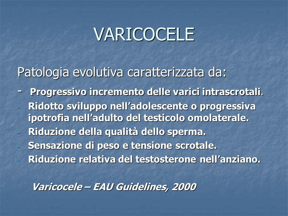 VARICOCELE Patologia evolutiva caratterizzata da: