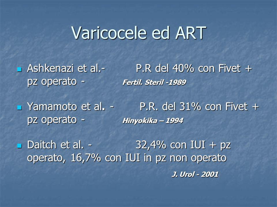 Varicocele ed ART Ashkenazi et al.- P.R del 40% con Fivet + pz operato - Fertil. Steril -1989.