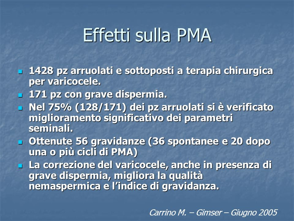 Effetti sulla PMA 1428 pz arruolati e sottoposti a terapia chirurgica per varicocele. 171 pz con grave dispermia.