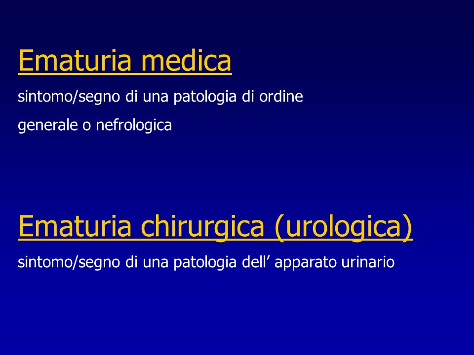 Ematuria chirurgica (urologica)
