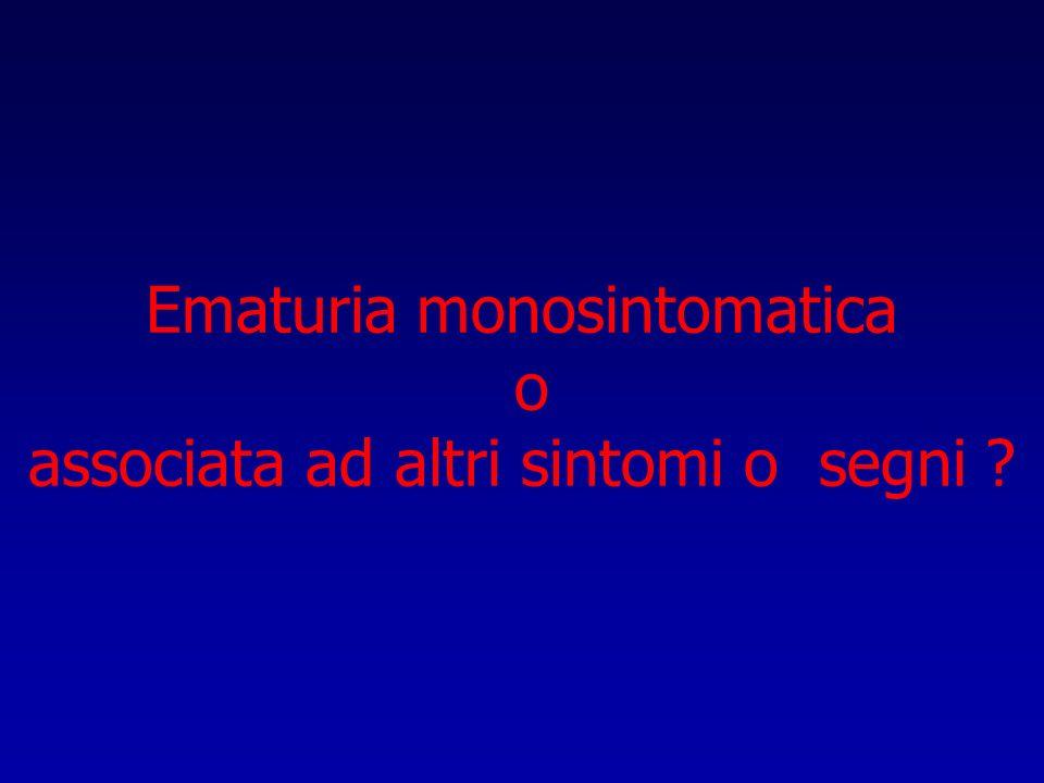 Ematuria monosintomatica o associata ad altri sintomi o segni
