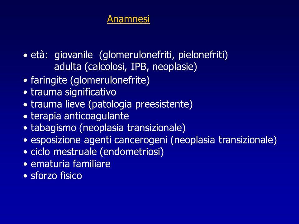 Anamnesi età: giovanile (glomerulonefriti, pielonefriti) adulta (calcolosi, IPB, neoplasie) faringite (glomerulonefrite)
