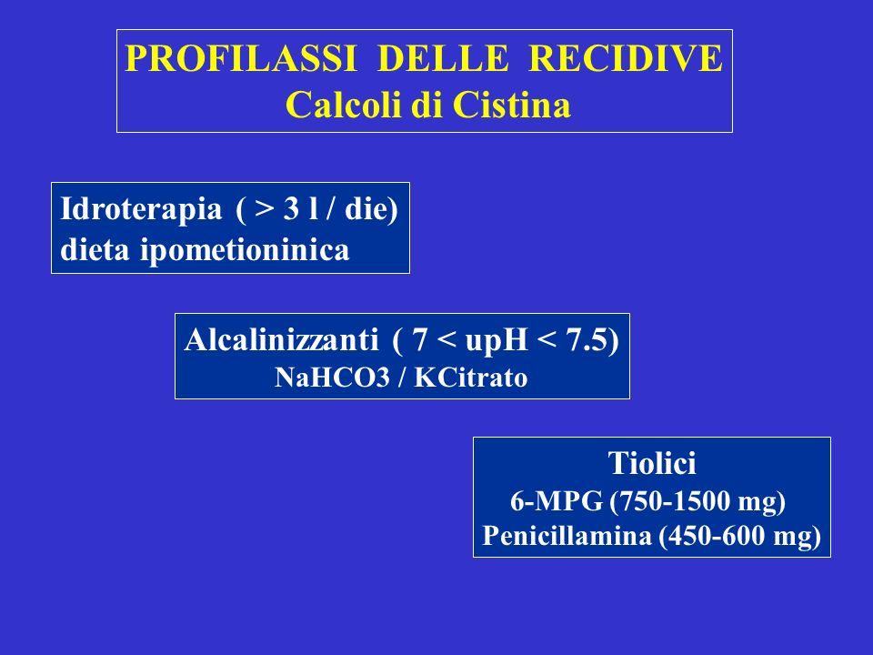 PROFILASSI DELLE RECIDIVE Alcalinizzanti ( 7 < upH < 7.5)