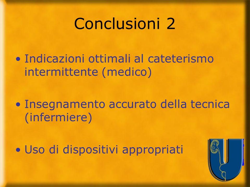 Conclusioni 2 Indicazioni ottimali al cateterismo intermittente (medico) Insegnamento accurato della tecnica (infermiere)