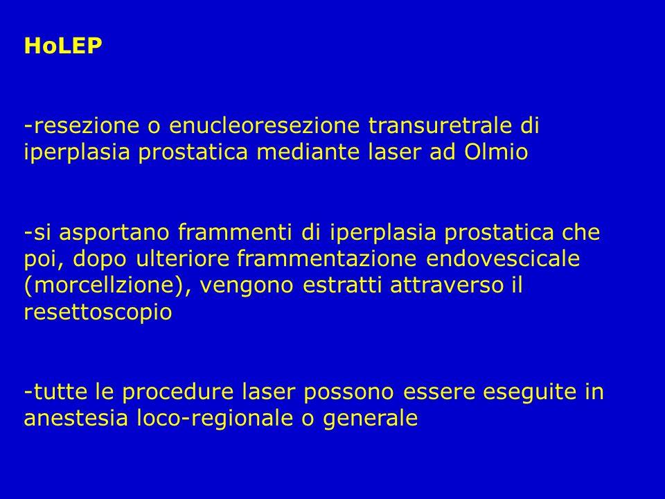 HoLEP resezione o enucleoresezione transuretrale di iperplasia prostatica mediante laser ad Olmio.