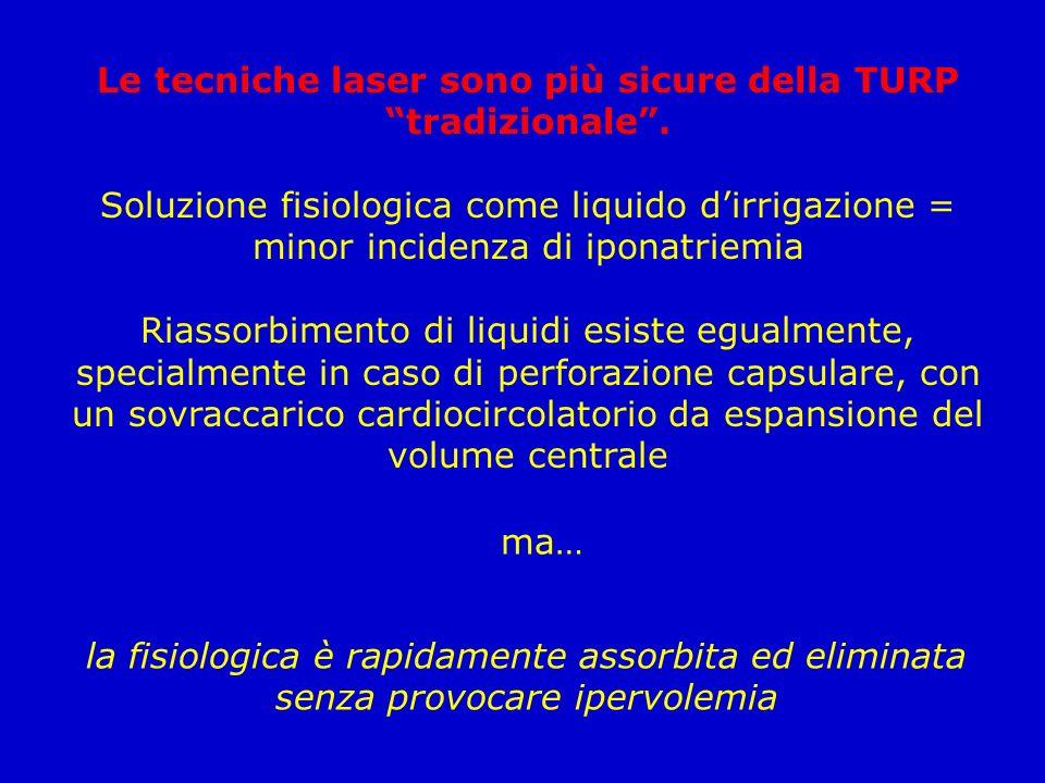 Le tecniche laser sono più sicure della TURP tradizionale .