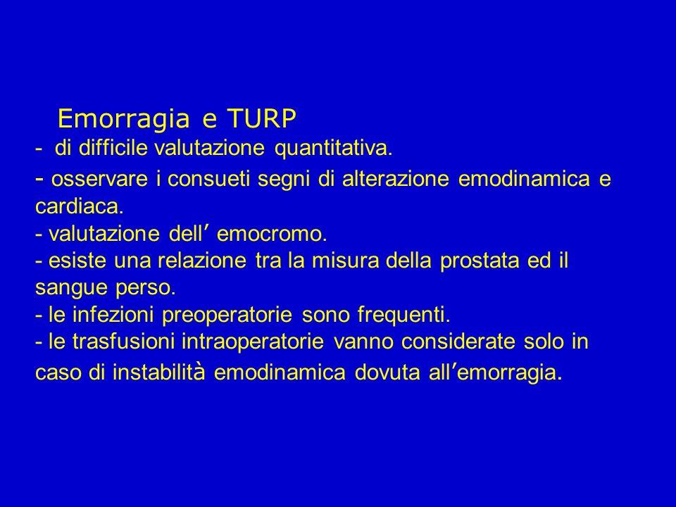 Emorragia e TURP - di difficile valutazione quantitativa