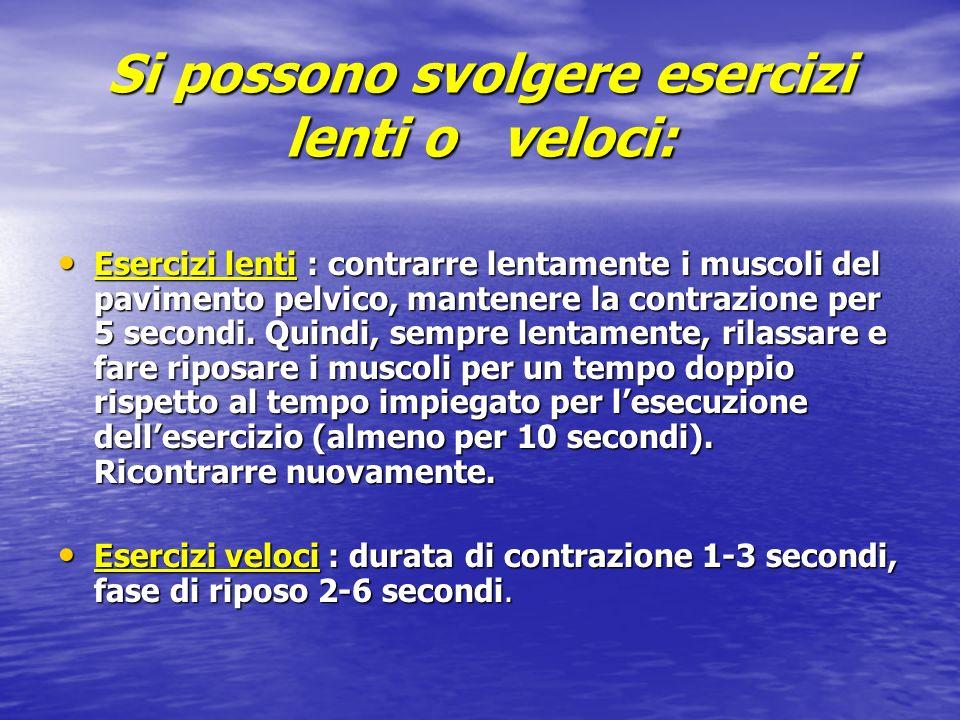 Si possono svolgere esercizi lenti o veloci: