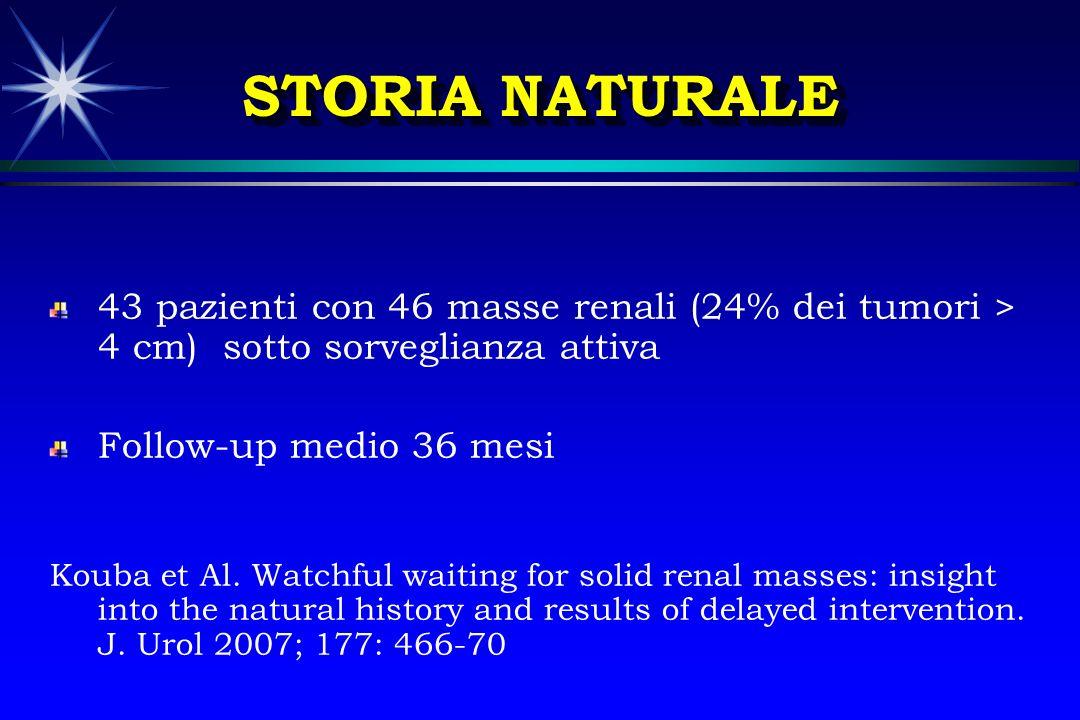 STORIA NATURALE 43 pazienti con 46 masse renali (24% dei tumori > 4 cm) sotto sorveglianza attiva.