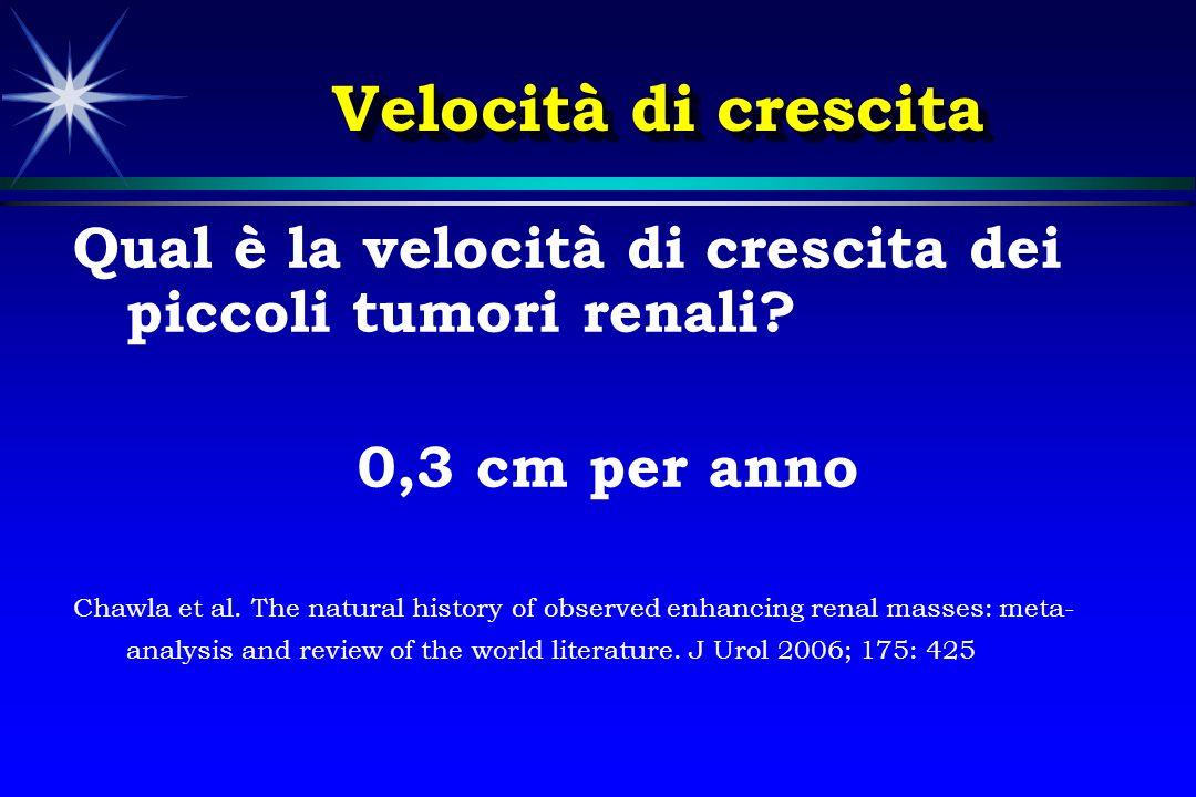 Velocità di crescita Qual è la velocità di crescita dei piccoli tumori renali 0,3 cm per anno.
